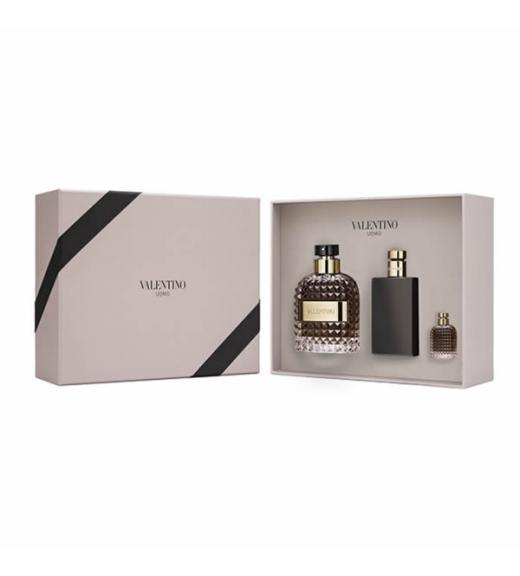 Valentino Uomo EDT Gift Set 100 ml After Shave Balsam 100 ml Uomo a Uomo Miniatures EDT 4 ml